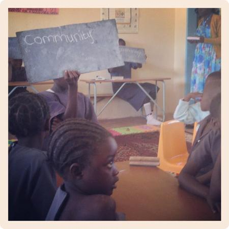 Kids show off their spelling at Chilileka Basic School in Zambia