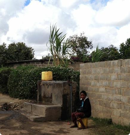 Shared water tap in Lusaka's Garden Compound
