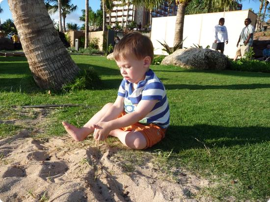 Eilan enjoys the sun at Aulani Resort in Hawaii