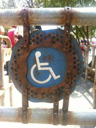 Even the handicapped ride entrance gets the Cars Land treatment