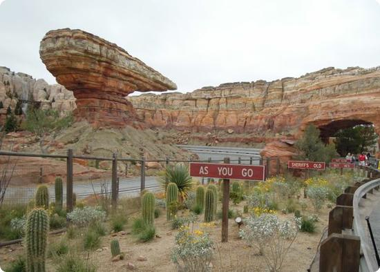 Rockwork backdrop for the Radiator Springs Racers Ride at Cars Land