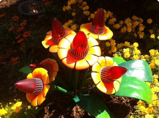 These flowers look as if they're made from old taillights