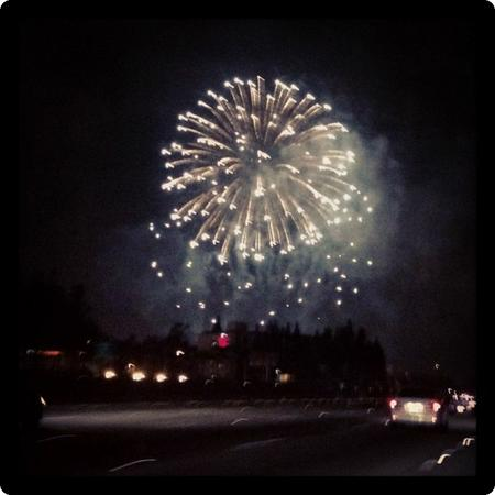 Fireworks over the 5 freeway at Disneyland