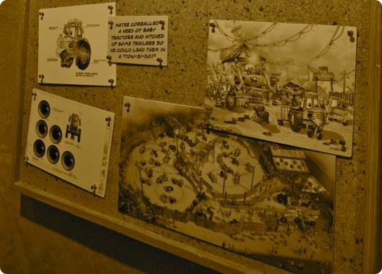 Concept sketches for Mater's Junkyard Jamboree