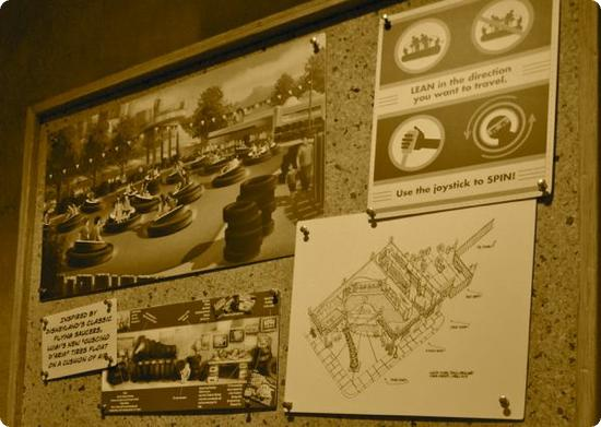 Concept drawings for Luigi's Flying Tires ride in Disney's California Adventure Park