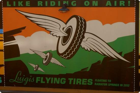 This sign for Luigi's Flying Tires used to hide Cars Land before the Grand Opening