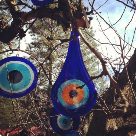 Turkish Evil Eye amulets at the Sleeping Lady Resort in Leavenworth