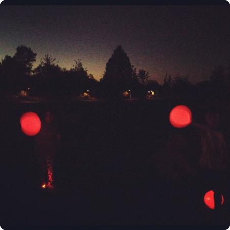 LED Balloons after campfire