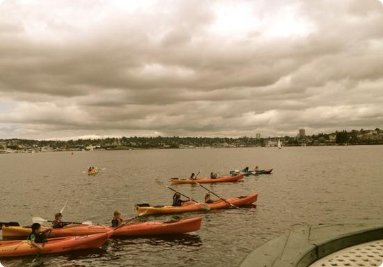 Kayakers on Lake Union