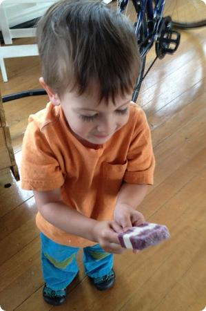 is there anything more adorable than a preschooler with a PB&J popsicle?
