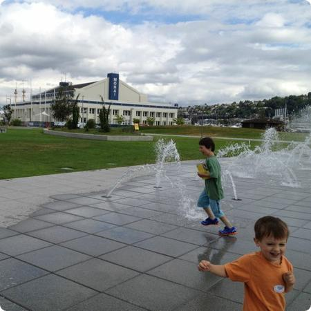 The huge splash fountain at South Lake Union provides plenty of space to run