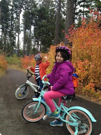 Riding bikes is fun for the kids, but it's also a great way for me to squeeze in a quiet walk