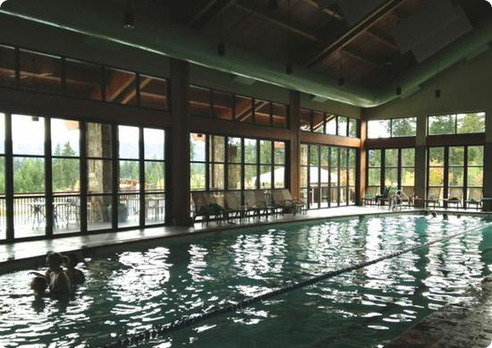 The indoor pool has a cozy lodge-like feel