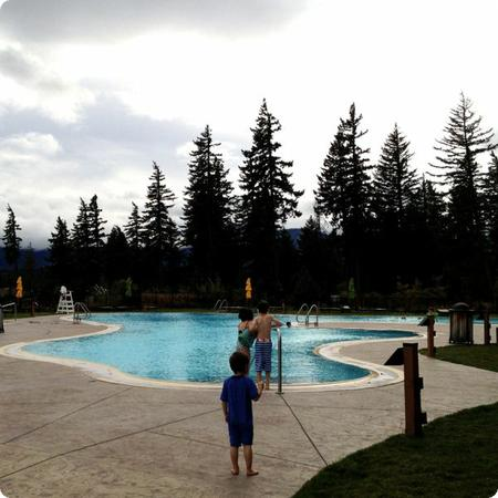 The outdoor pool looks lovely, but the fall weather was way too cold for a dip