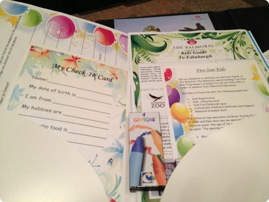 Here's the activity pack my kids were given when they checked in at the Balmoral Hotel