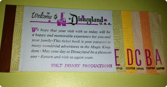Disneyland Ticket Book with E-Tickets intact